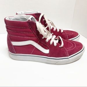 Vans Red & White High Tops Woman's 8.5 Mens 7